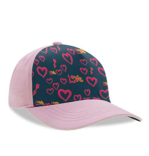 Love Heart Patterns Baseball Cap Men's Women Dad Hat Trucker Hat Adjustable Snap Peaked Hats, Breathable Moisture Wicking Tennis Cap Low Profile Hip Hop Fishing Cap