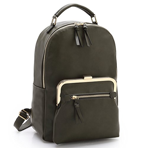 Green College army Daypack Fashion Backpack 7565 Women Faux Bag School Casual Leather MKY gPw7q5p