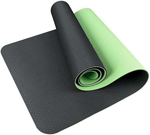 SKL Yoga Mat Non Slip, 1 4 inch Extra Thick TPE Yoga Mats Eco Friendly Fitness Exercise Mat Workout Mat for Hot Yoga, Pilates and Floor Exercises Reversible Dual Color