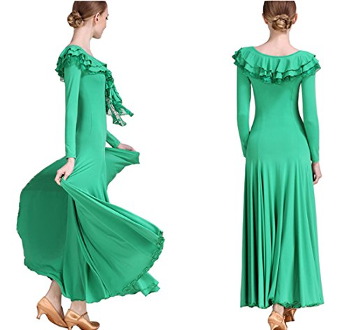 Verde Da Abito Vestito Vestito Cha Loto Multistrato Tango Cha Valzer Ballo Moderno Gonna Abito Collare gqTwa