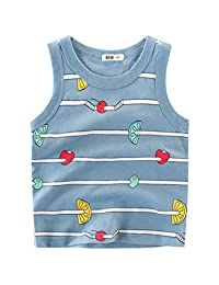 Askong Boys Girls Sleeveless O Neck Summer 100% Cotton Fruit Printing Vest Tops Clothing for 1-10 Years