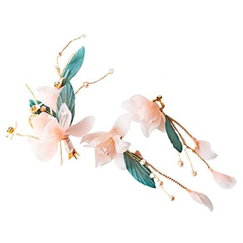 Amosfun 2pcs Hair Earrings Sets with Hair Pins Handmade Gauze Hair ornaments Wedding Party prom Evening Hair Photo Props Accessory(Light Green)