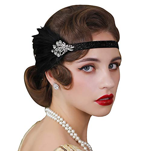 Roaring 20s Headpieces (SWEETV 1920s Flapper Headband, Feather Great Gatsby Headpiece, Roaring 20s Vintage Hair Accessories,)