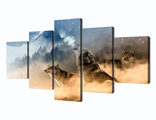 Yatsen Bridge Wolf Painting on Canvas 5 Piece Modern Landscape, Posters and Prints Wolves Pictures Wall Art for Living Room Home Decor Wooden Framed Stretched Ready to Hang