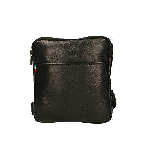 Aren Hombro del hombre bolsa de cuero auténtico Made in Italy - 16x18x4 Cm Negro
