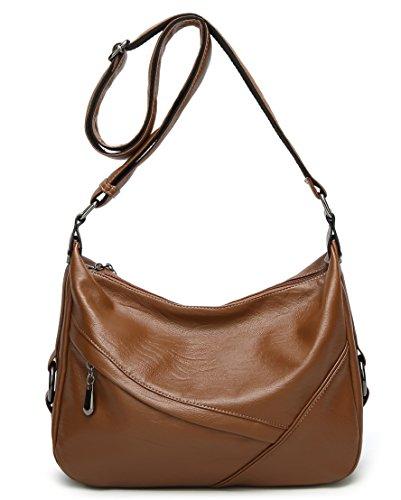 Molodo Women PU Leather Big Shoulder Bag Purse Handbag Tote Bags (Brown) by Molodo