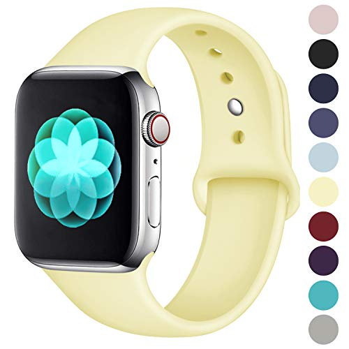 (ilopee Sweat-Proof Sport Band Compatible with Apple Watch 42mm 44mm Series 4 3 2 1, Light Yellow, S/M)