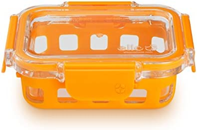 Ello DuraGlass Glass Food Storage Containers - Meal Portion Container with Silicone Sleeve and Airtight Lid