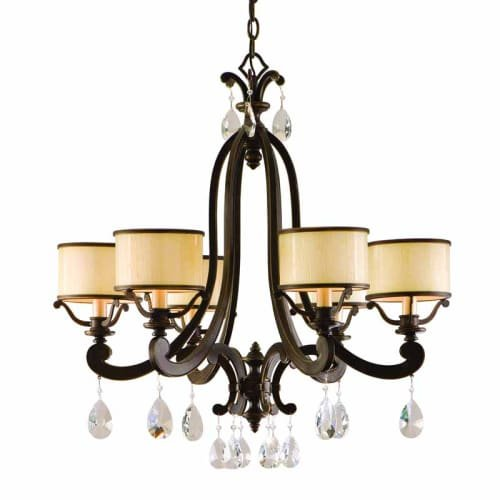 Lighting Bronze Corbett (Corbett 28574250 Corbett Six Light Classic Bronze Drum Shade Chandelier - 782042951129)