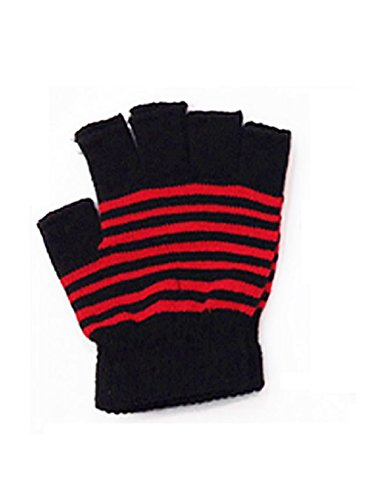 Black Striped Fingerless Gloves (LL- Womens Striped Fingerless Knit Fall Winter Gloves with 5 Half Fingers (Black with Red Stripes))