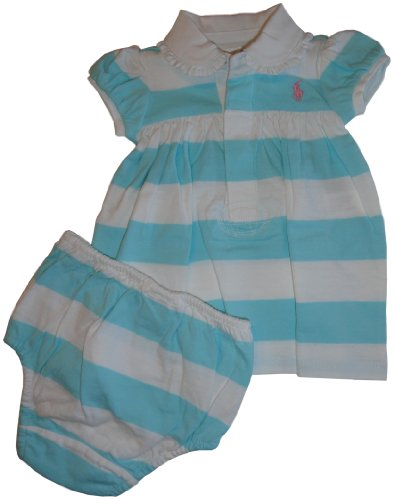 Ralph Lauren Polo Infant Girl's Short Sleeve 2 Piece Dress Light Blue and White Stripes (3 Months)