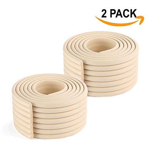 HROUEN 2 Pack Baby Proofing Edge & Corner Guards 6.5ft Multifunctional Child Safety Furniture Wide Bumper Table Sharp Edges Protector, Beige