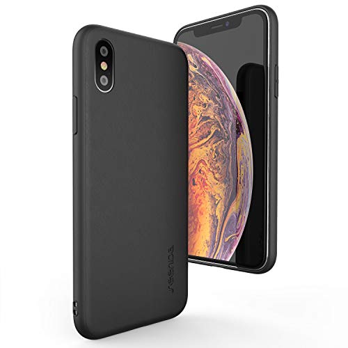 Leather Case Compatible iPhone Xs Max - seenda Genuine Leather Case Slim Phone Cover Compatible for iPhone Xs Max 6.5 - Black