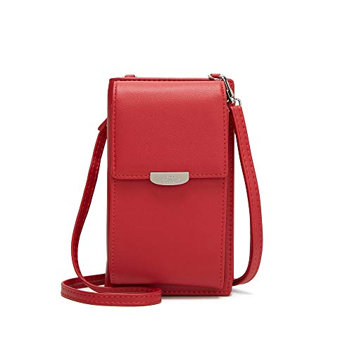 Kingto Small Leather Crossbody Cell Phone Shoulder Bag for Women, Smartphone Wallet Purse with Removable Shoulder Strip for Travel and Shopping (red two)