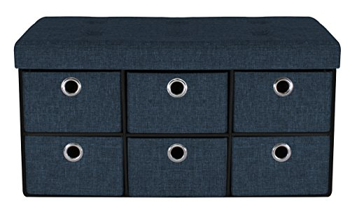 - Sorbus Storage Bench Chest with Drawers – Collapsible Folding Bench Ottoman Includes Cover – Perfect for Entryway, Bedroom Bench, Cubby Drawer Footstool, Hope Chest, Faux Linen (Navy Blue)