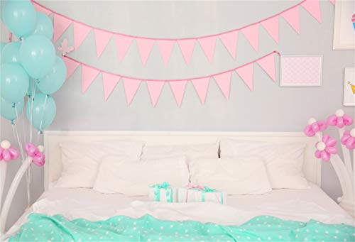 Laeacco 5x3ft Pastel Princess Bedroom Cozy Bed Scene Vinyl Photography Background Pink Buntings Mint Green Pink Balloons Decors Backdrop Child Baby Girl Adult Portrait Shoot Studio - Bunting Cozy