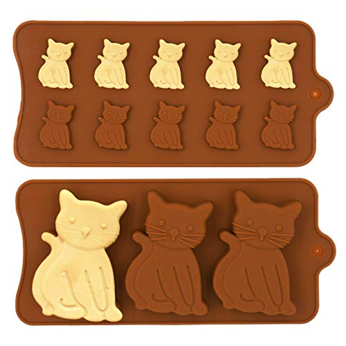 MoldFun 2 Pack Cute Cat Chocolate Silicone Molds Kitten Baking Cake Cupcake Pancake Pan Kitty Soap Polymer Clay Candy Cookie Fondant Concrete Wax Melt Ice Cube Tray (Silicone Mold Kitty)