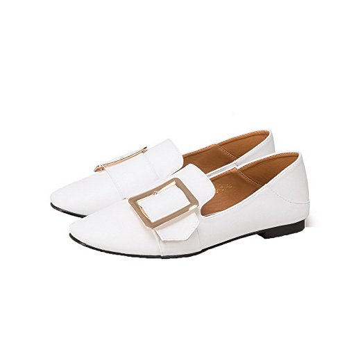 Pull Odomolor Pumps On Solid 36 Women's Toe PU Shoes White Low Closed Heels ffrpcFR