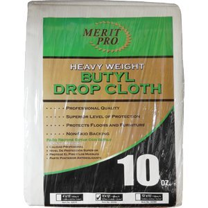 MERIT PRO 02070 4' x 15' 10Oz Heavy Weight Butyl Drop Cloth