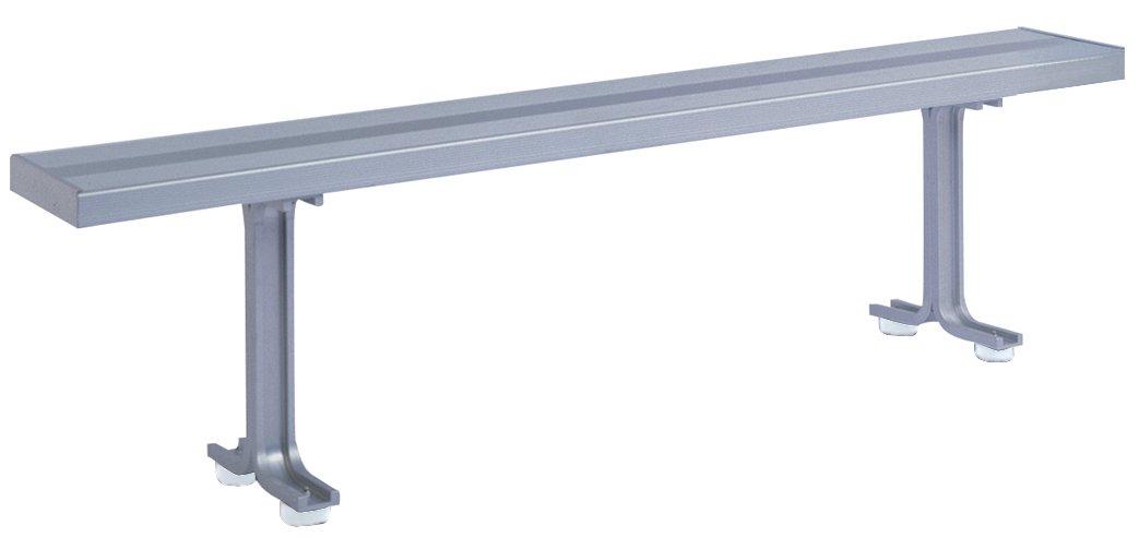 Lyon NF5824 Aluminum Locker Room Bench with 2 Pedestals, 72'' Width x 9-1/2'' Depth x 17-1/8'' Height