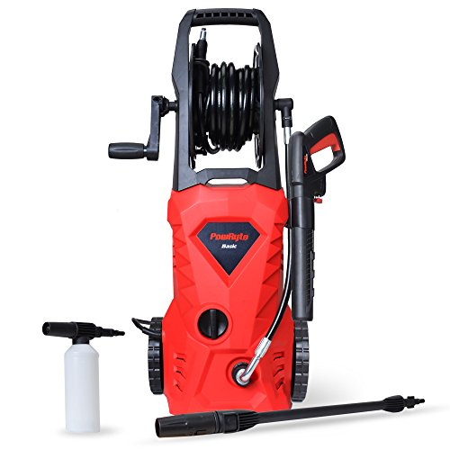 PowRyte 1600 PSI 1.6 GPM Electric Pressure Washer, Power Washer with Hose Reel and External Detergent Tank