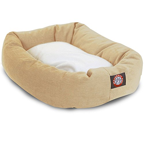 Majestic Pet 40 inch Khaki & Sherpa Bagel Dog Bed Products