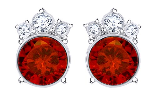 Round Cut Simulated Garnet Crown Stud Earrings In 14K White Gold Over Sterling Silver ()