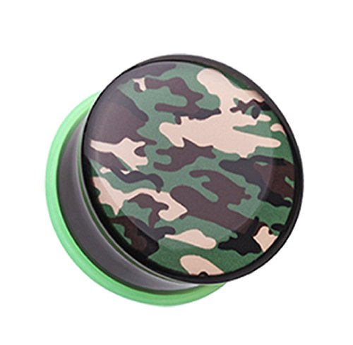 Camouflage Single Flared Ear Gauge Freedom Fashion Plug (Sold by Pair) (0 GA) (Single 568)