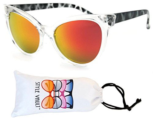 Wm501-vp Style Vault Cateye Retro Classic Sunglasses (B2940F Clear-ruby red mirror, - Sunglasses Zoo Print Animal