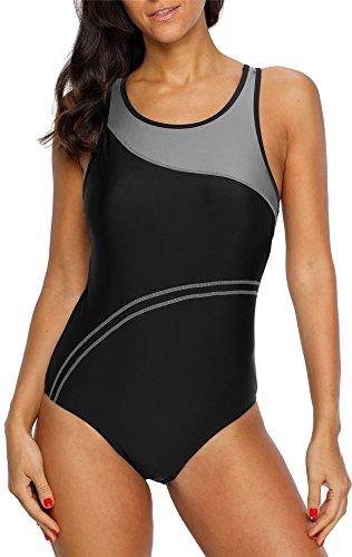 belamo Womens Color Block Swimwear Racerback Sport one Piece Swimsuit Gray XXL