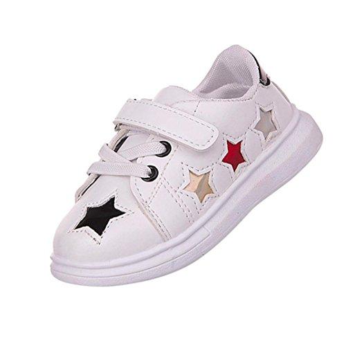 JIANGFU Kleinkind Kinder Baby Sport Skate Soft Star Flache Turnschuhe Paillette Loafers Schuhe, Kleine weiße Schuhe der Jungen- und Mädchensterne weichen unten Black