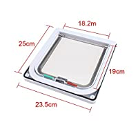 Biowow 4 Ways Locking Cat Door for interior doors Large Size 24X23.5X5.5cm Pet Flag Door Kit for Small Dogs White