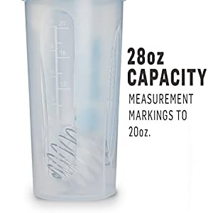 BlenderBottle Classic Loop Top Shaker Bottle, Clear/Blue, 28-Ounce Loop Top