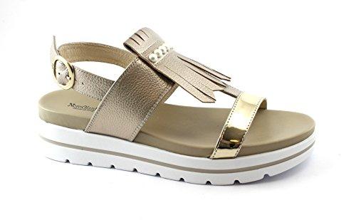 Nero Giardini Marte 05852 Écrou Chaussures Beige Femme Boucle En Cuir Sandales Plateforme Beige Frangée