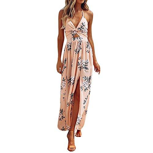 HODOD Women Chiffon Boho Floral Split Backless Bow Halter Beach Long Maxi Dress (Small, Z-Pink)