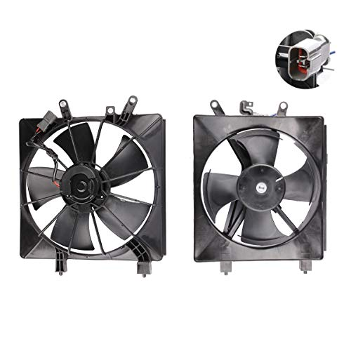 MOSTPLUS Radiator & AC Condenser Cooling Fan Assembly Replaces 38616PMMA01 for Honda Civic 1.7L l4(Left+Right Side)