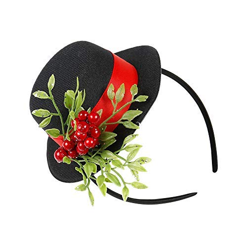 Christmas Headband w/Mistletoe, Frosty Snowman Top Hat for Halloween Costume Black