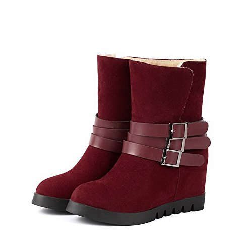 Allhqfashion Women's Kitten Heels Frosted Low-top Solid Pull-on Boots Claret FLC5ffN