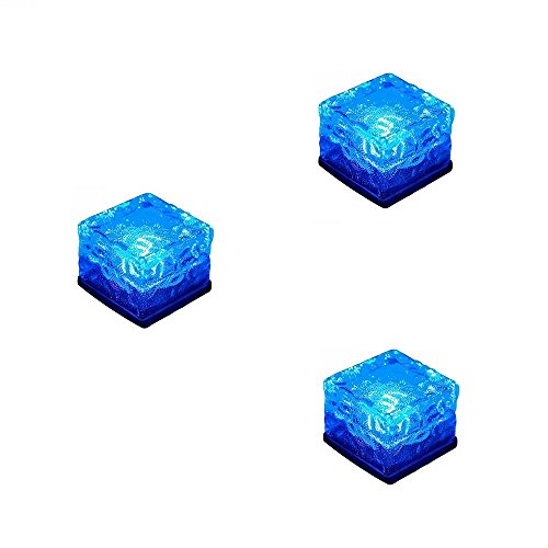 Solar Powered Glass Ice Cube Brick Blocks Blue Color, Youqian Outdoor Buried Garden Path Lamp for Yard Patio Landscape Decoration (Pack of ()