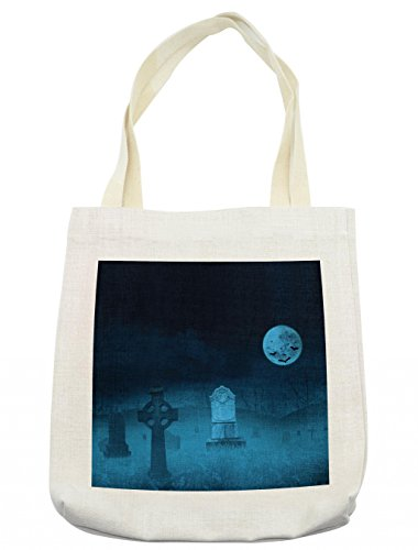 Lunarable Gothic Tote Bag, Ghostly Graveyard Illustration Horror Halloween Dead Danger Theme Full Moon Bat Mystery, Cloth Linen Reusable Bag for Shopping Groceries Books Beach Travel & More, (Day Of The Dead Compared To Halloween)