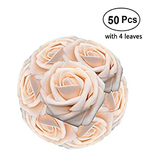 Lmeison Artificial Flower Rose 50pcs Real Looking Artificial Roses w/Stem for Bridal Wedding Bouquets Centerpieces Baby Shower DIY Party Home Décor with 4 Leaves 39