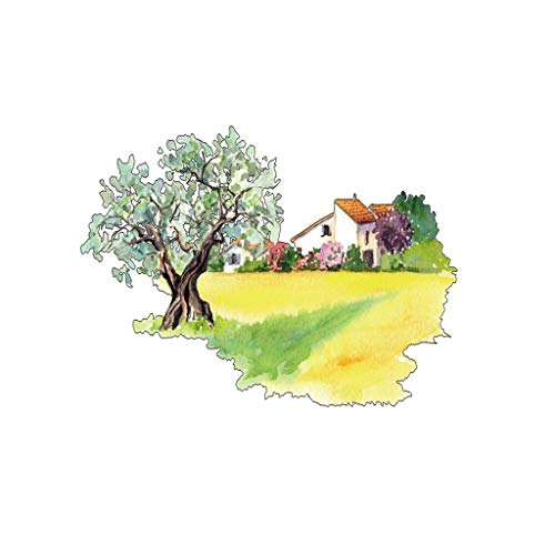 Hand Painted Field Tile - Antty Personality Field Big Tree House Hand-Painted Creative Wall Sticker Background Wall Decoration Wall Sticker (Multicolor)