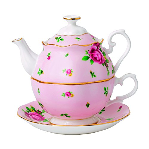 (Royal Albert New Country Roses Tea Party Pink Tea for One, Pink)