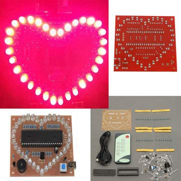 (51 SCM Pink LED Love Heart Shape Kit - Arduino Compatible SCM & DIY Kits Arduino Compatible Kits & DIY Kits - 1 x Love Heart Shape DIY Kit alt)