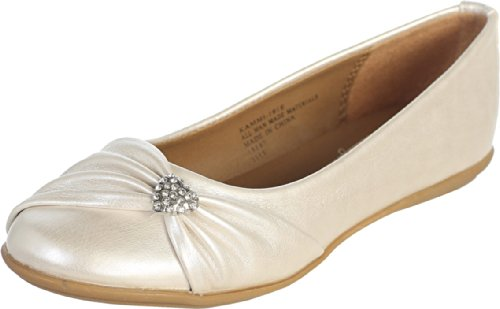 Ivory Pearl Girl's Flat Shoes with Rhinestone Heart Girl (Girls Ivory Pearl)