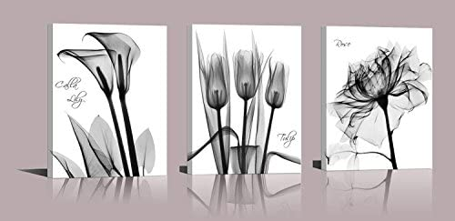 Abstract Flower Canvas Print Set Of 3 Lilies Tulips Roses Painting Print Floral Poster Gray Black White Flower Modern Design Photo Girls Home Wall
