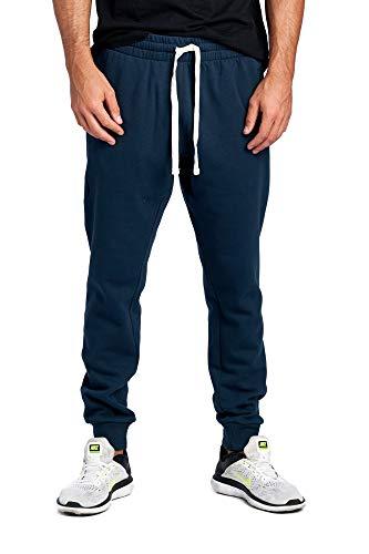 (ProGo Men's Casual Jogger Sweatpants Basic Fleece Marled Jogger Pant Elastic Waist (Large, Navy (Slanted Pocket)))