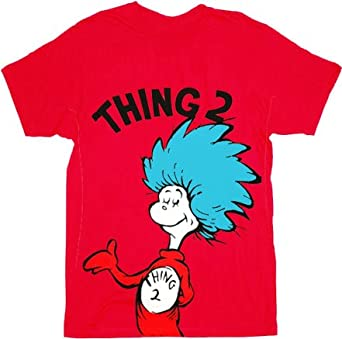 ef591911 Dr. Seuss Thing 1 or Thing 2 Adult Red T-shirt (Adult X-Small, Thing 2):  Amazon.co.uk: Clothing