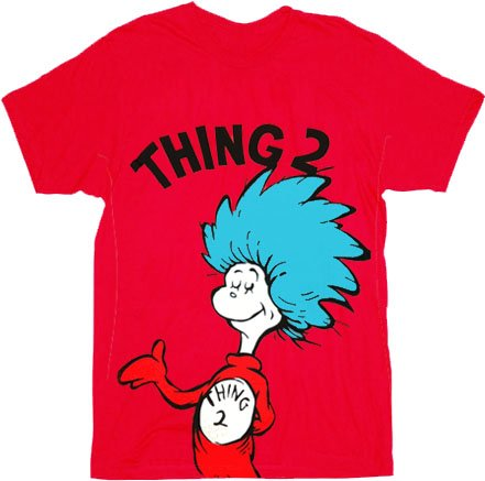 Dr. Seuss Thing 2 Adult Red T-shirt (Adult X-Large)]()