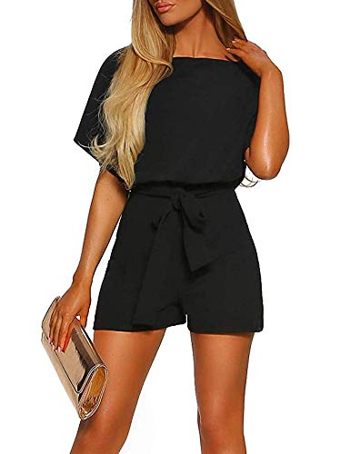 Women Summer Shorts Jumpsuits -Juniors Casual Loose Pants Rompers Dressy Top Belted Playsuits Black (Short Jumpsuit Dressy)